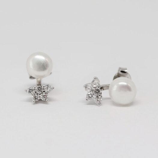 cercei mireasa cu perle albe