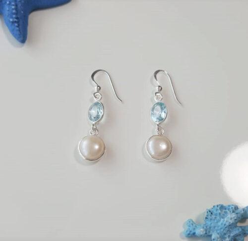 cercei cu perle si pietre bleu
