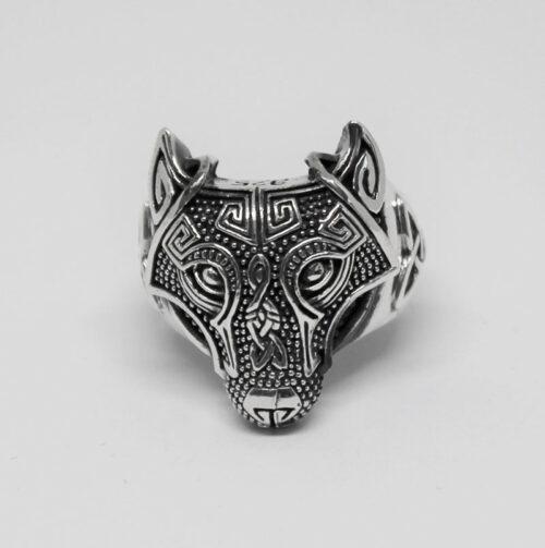 inel cap de lup din argint