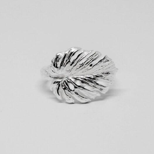 inel frunza exotica argint