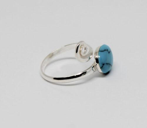 inel din argint cu turcoaz profil
