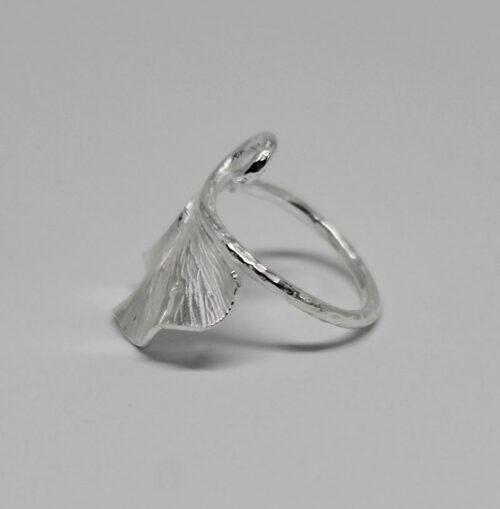 inel din argint frunza exotica