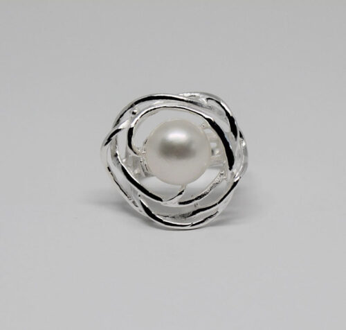 inel argint cu perla